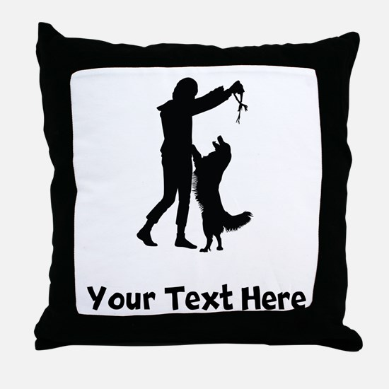 Dog Trainer Silhouette Throw Pillow