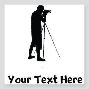 "Photographer Silhouette Square Car Magnet 3"" x 3"""