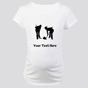 Curlers Silhouette Maternity T-Shirt