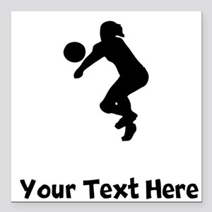 Volleyball Player Silhouette Square Car Magnet 3""