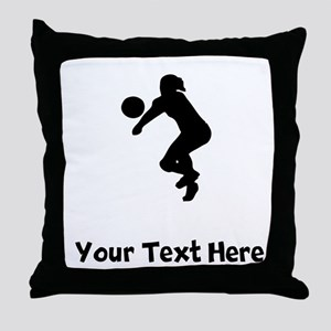 Volleyball Player Silhouette Throw Pillow