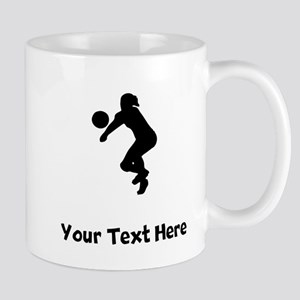 Volleyball Player Silhouette Mugs