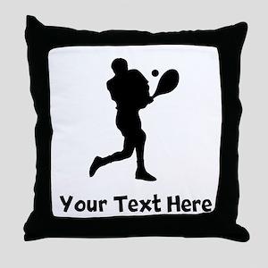 Tennis Player Silhouette Throw Pillow