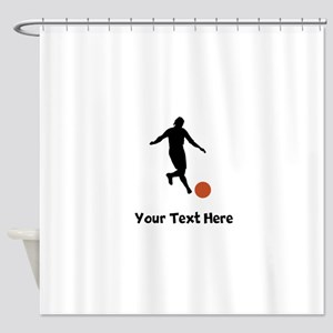 Kickball Player Silhouette Shower Curtain
