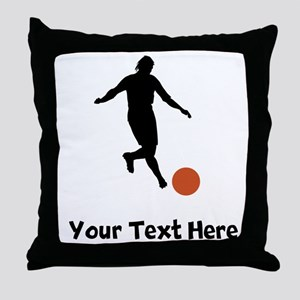 Kickball Player Silhouette Throw Pillow