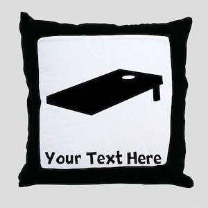 Cornhole Board Silhouette Throw Pillow