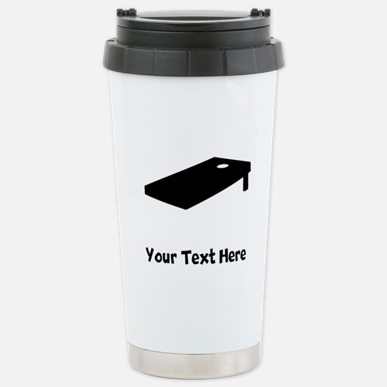 Cornhole Board Silhouette Travel Mug