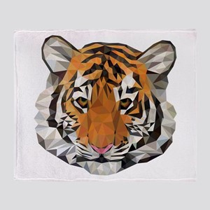 Tiger Cub Low Poly Triangle Geometri Throw Blanket
