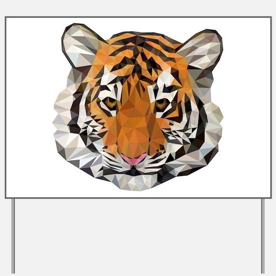 Tiger Cub Low Poly Triangle Geometric Yard Sign