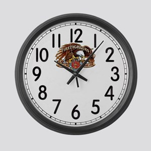 First In Firefighter Large Wall Clock