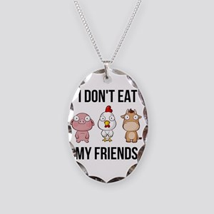 I Don't Eat My Friends - V Necklace Oval Charm