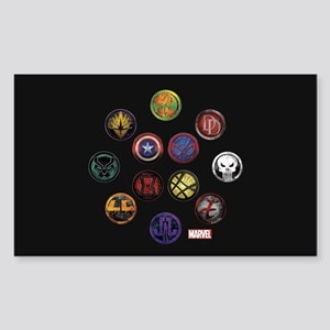 Marvel Grunge Icons Sticker (Rectangle)