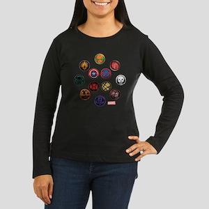 Marvel Grunge Ico Women's Long Sleeve Dark T-Shirt