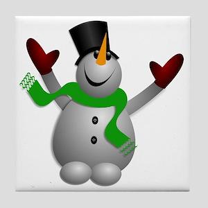 A Happy Snowman Tile Coaster