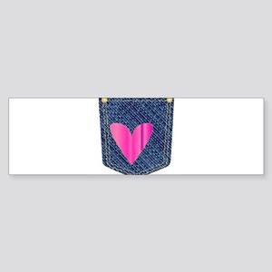 Heart Denim Pocket Bumper Sticker