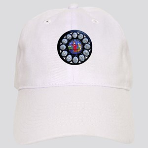Stained Glass Rose Window Bible Scene Cap