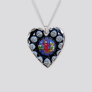 Stained Glass Rose Window Bib Necklace Heart Charm