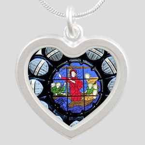 Stained Glass Rose Window Bible Scene Necklaces