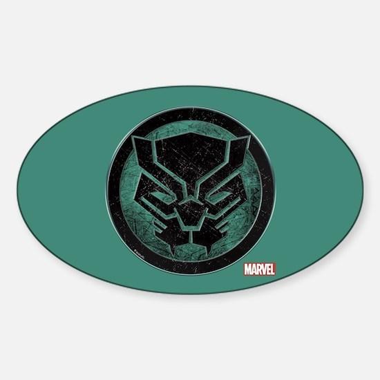 Black Panther Grunge Icon Sticker (Oval)