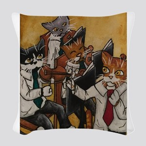Orchestral cats Woven Throw Pillow