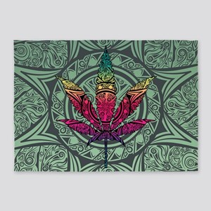 Marijuana Leaf 5'x7'Area Rug
