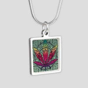 Marijuana Leaf Silver Square Necklace