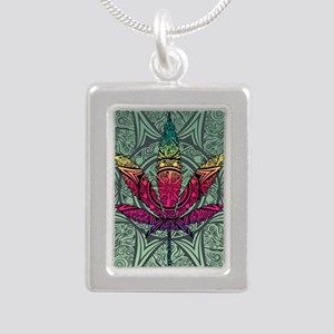 Marijuana Leaf Silver Portrait Necklace