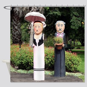 Old married couple sculptures Shower Curtain