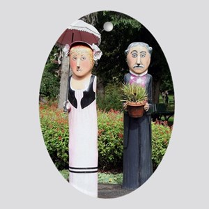 Old married couple sculptures Oval Ornament