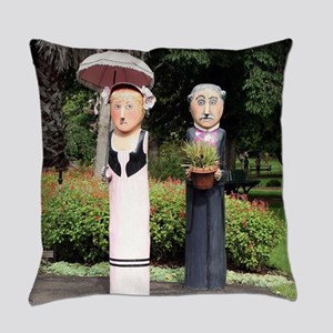 Old married couple sculptures Everyday Pillow