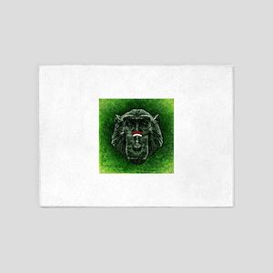 Green Gradient Monkey Head 5'x7'Area Rug