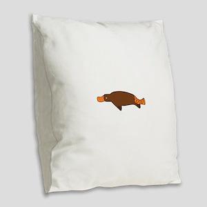 Cartoon Platypus Burlap Throw Pillow