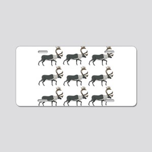 rows of the caribou Aluminum License Plate