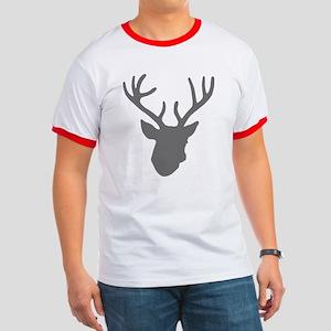 Deer Head: Rustic Grey Ringer T