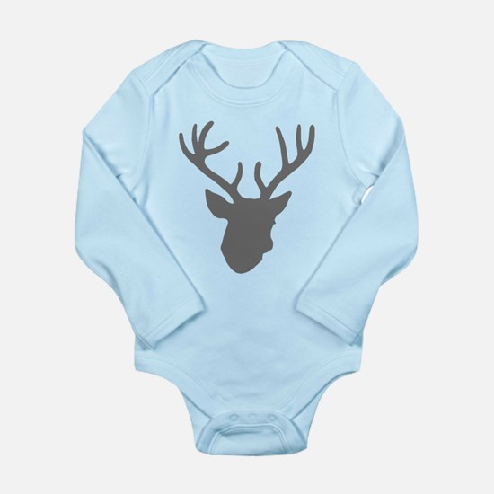 Deer Head: Rustic Grey Long Sleeve Infant Bodysuit