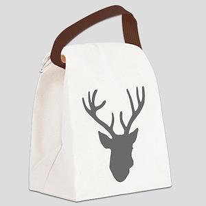 Deer Head: Rustic Grey Canvas Lunch Bag
