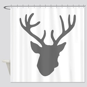Deer Head: Rustic Grey Shower Curtain