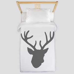 Deer Head: Rustic Grey Twin Duvet