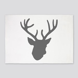 Deer Head: Rustic Grey 5'x7'Area Rug