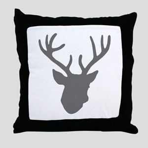 Deer Head: Rustic Grey Throw Pillow