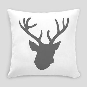 Deer Head: Rustic Grey Everyday Pillow
