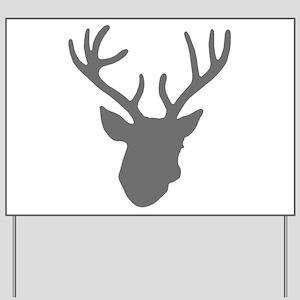 Deer Head: Rustic Grey Yard Sign