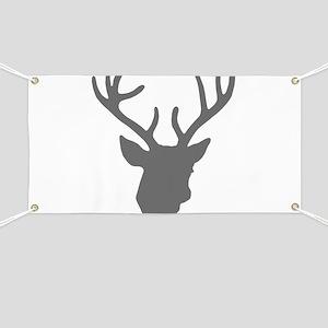 Deer Head: Rustic Grey Banner