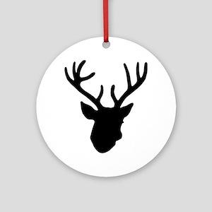 Deer Head: Black Round Ornament