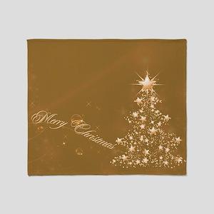Golden Christmas Throw Blanket