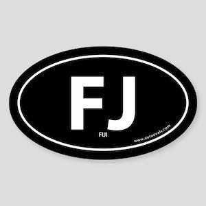 Fiji country bumper sticker -Black (Oval)