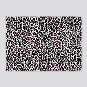 pink leopard print 5'x7'Area Rug