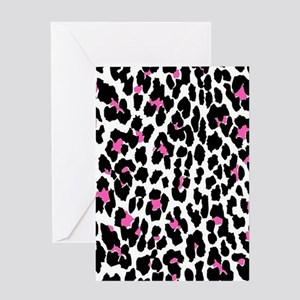 pink leopard print Greeting Cards
