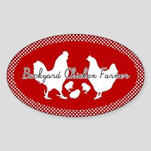 Backyard Chicken Farmer Sticker (Oval)