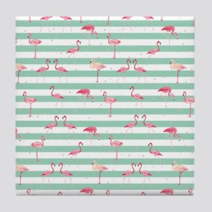 Pink Flamingos on green and white str Tile Coaster